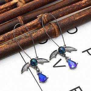 2/$20! Black Bat/Iridescent Blue Crystal Earrings